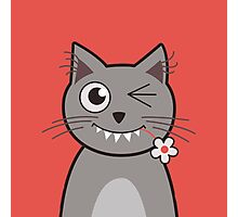 Flower Nibbling Winking Cat Photographic Print