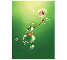 Yoshi and Baby Mario Photographic Print