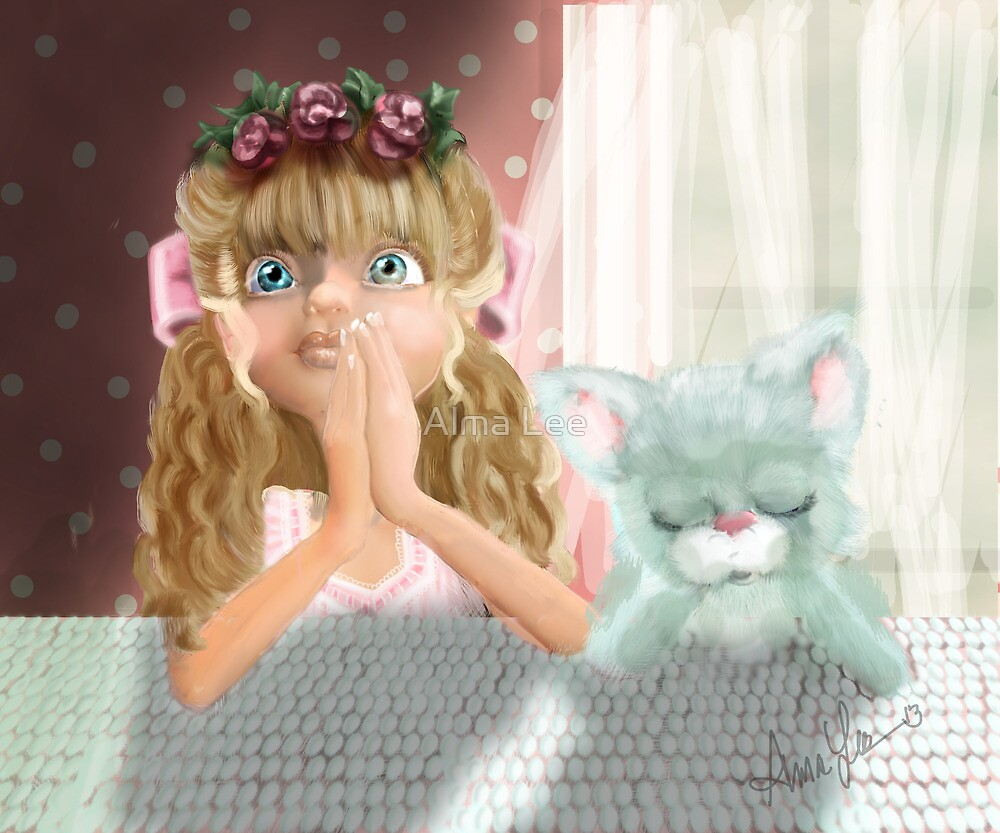 Bedtime Prayers: Big eyed Girl and her cat by Alma Lee
