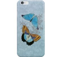 Butterflies on Blue Floral iPhone Case/Skin