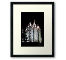 LDS Salt Lake Temple by night Framed Print