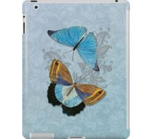 Butterflies on Blue Floral iPad Case/Skin