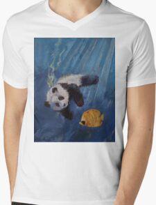 Panda Diver Mens V-Neck T-Shirt