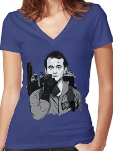 Ghostbusters Peter Venkman illustration Women's Fitted V-Neck T-Shirt