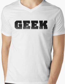 GEEK - Black Mens V-Neck T-Shirt