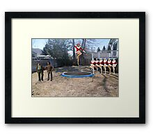 Uh…..I'm pretty sure the boss said you should be working on a ROCKET launcher!! Framed Print