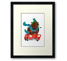 Bear in car Framed Print