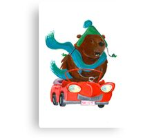 Bear in car Canvas Print