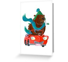 Bear in car Greeting Card