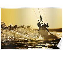 sunset kitesurfing Poster