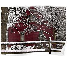 Red House White Snow Poster