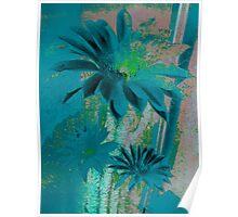 Kaktus Textured Flowers. Poster