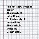 Thirteen Ways of Looking at a Blackbird by silvermirror