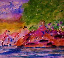 Watching the Flamingos while sitting on bank, watercolor by Anna  Lewis