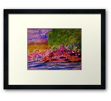 Watching the Flamingos while sitting on bank, watercolor Framed Print