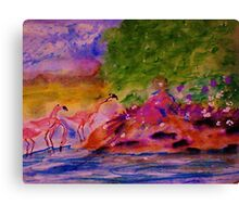 Watching the Flamingos while sitting on bank, watercolor Canvas Print
