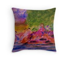 Watching the Flamingos while sitting on bank, watercolor Throw Pillow