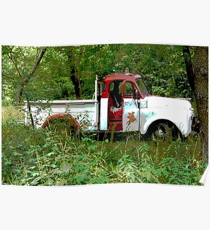 Old Vintage Red & White Pick Up Truck  Poster