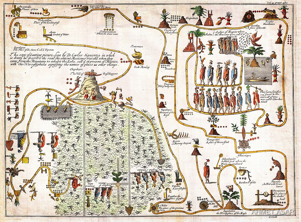 1704 Gemelli Map of the Aztec Migration from Aztlan to Chapultapec Geographicus AztecMigration gemelli 1704 by MotionAge Media