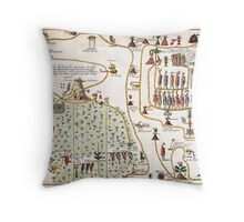 1704 Gemelli Map of the Aztec Migration from Aztlan to Chapultapec Geographicus AztecMigration gemelli 1704 Throw Pillow
