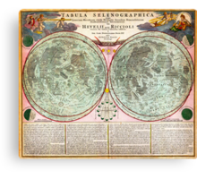 1707 Homann and Doppelmayr Map of the Moon Geographicus TabulaSelenographicaMoon doppelmayr 1707 Canvas Print