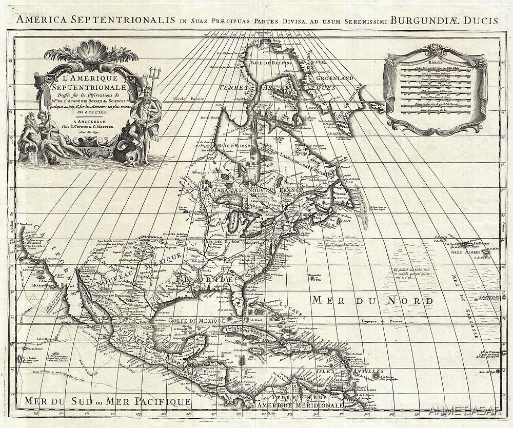 1708 De L'Isle Map of North America Covens and Mortier ed Geographicus AmeriqueSeptentrionale covensmortier 1708 by Adam Asar