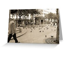 Pigeons Flock the Park Greeting Card