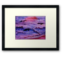 Seagulls fight the waves for fish, watercolor Framed Print