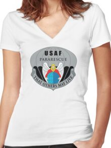 Air Force Pararescue Badge Women's Fitted V-Neck T-Shirt