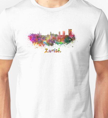 Zurich skyline in watercolor Unisex T-Shirt