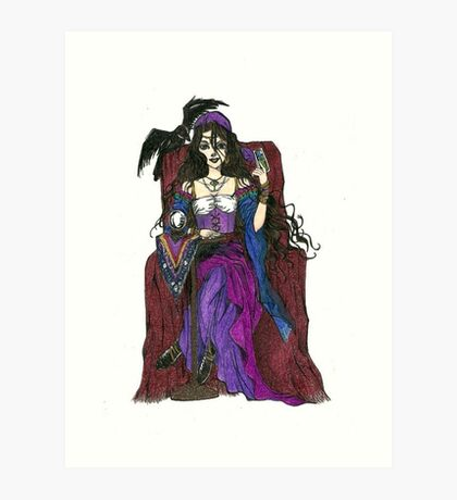 Gypsy Woman with Raven Cards and Prints Art Print