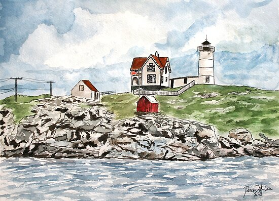 Cape Neddick Lighthouse painting by derekmccrea