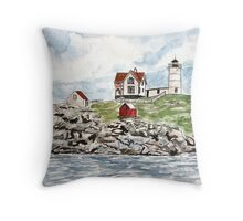 Cape Neddick Lighthouse painting Throw Pillow