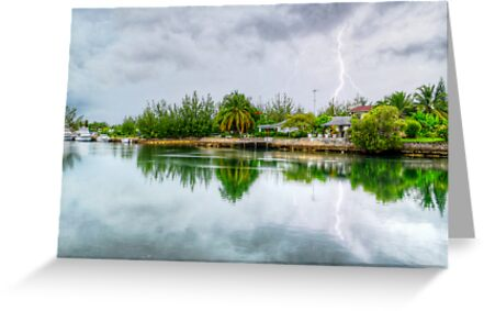 Lightning over the canal at Coral Harbour - Nassau, The Bahamas by 242Digital