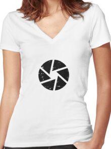 Iris Logo, black Women's Fitted V-Neck T-Shirt