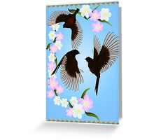 Three Sparrows Poster Greeting Card
