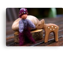 Wee Elf and Fawn Canvas Print