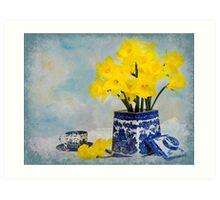 Spring in Blue Vintage Art Print