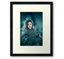 Young hipster woman during a winter storm  Framed Print