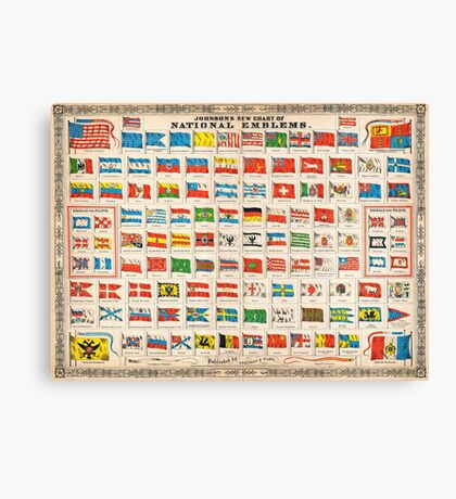 1864 Johnson Chart of the Flags and National Emblems of the World Geographicus Flags johnson 1864 Canvas Print
