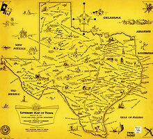 A Literary map of Texas by Dallas Pub Lib (1955) by Adam Asar