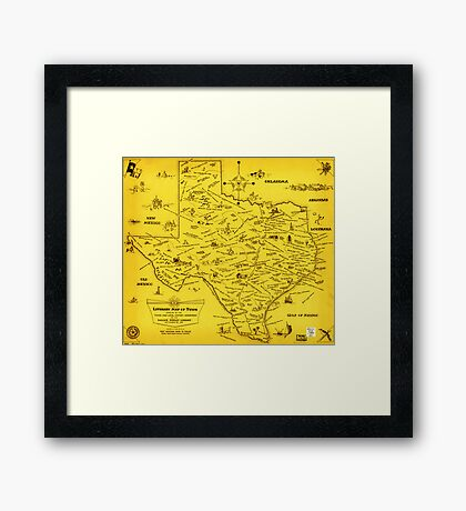 A Literary map of Texas by Dallas Pub Lib (1955) Framed Print