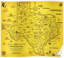 A Literary map of Texas by Dallas Pub Lib (1955) Poster