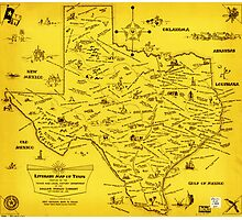 A Literary map of Texas by Dallas Pub Lib (1955) Photographic Print