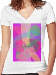 Tree and Fruit Women's Fitted V-Neck T-Shirt