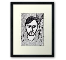 self portrait with a winged figure Framed Print