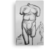 Greek statue - charcoal drawing Canvas Print