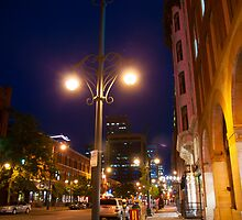 Downtown Denver Street at Night by Reese Ferrier