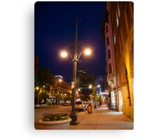 Downtown Denver Street at Night Canvas Print