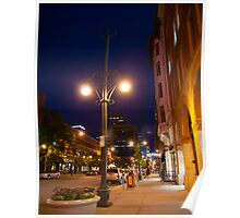 Downtown Denver Street at Night Poster